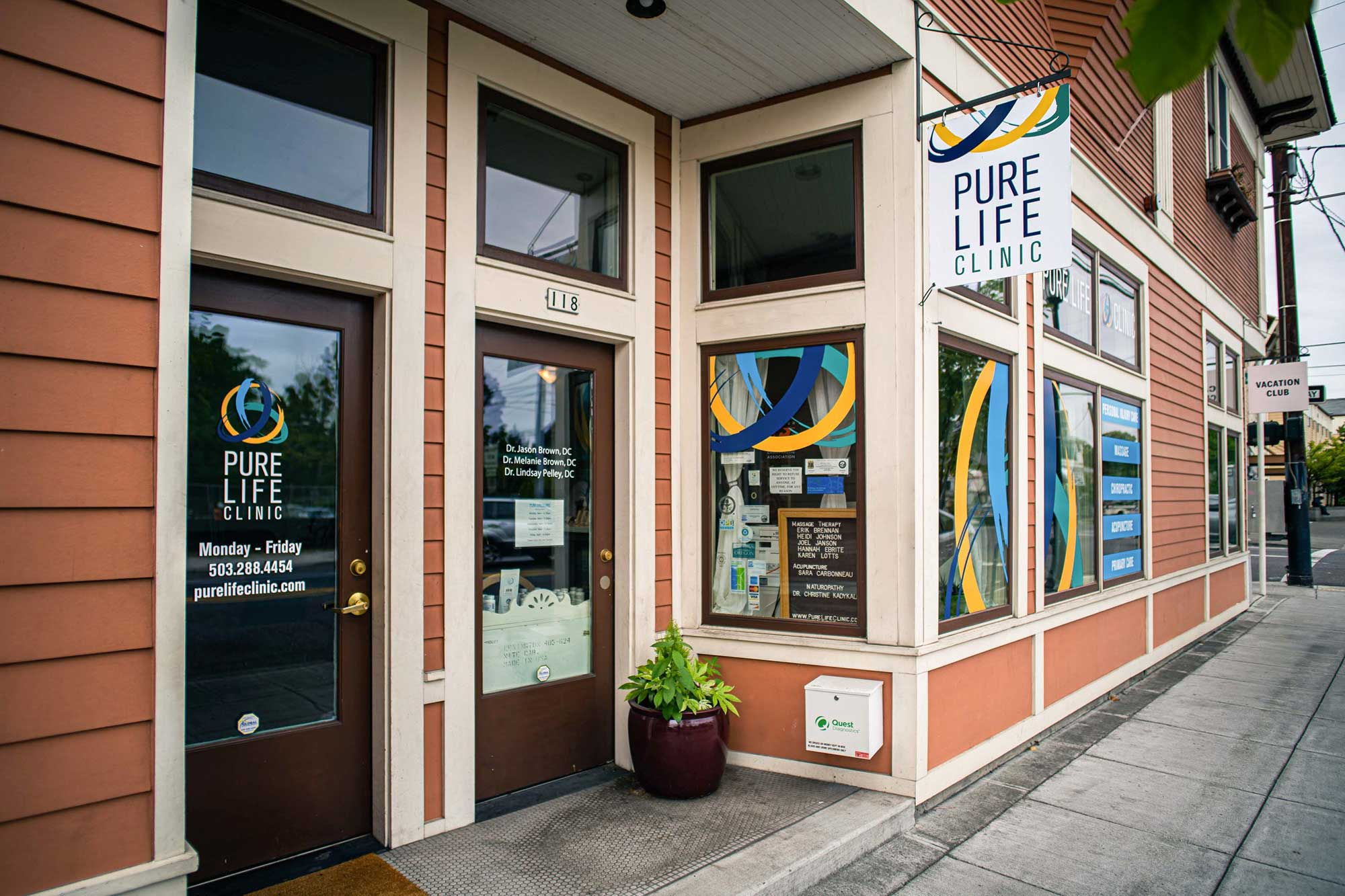 View of the Pure Life Clinic's front door and window